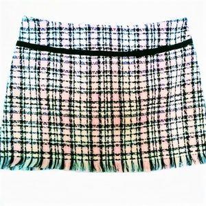 Plaid Fringe Skirt size 17 pink white black